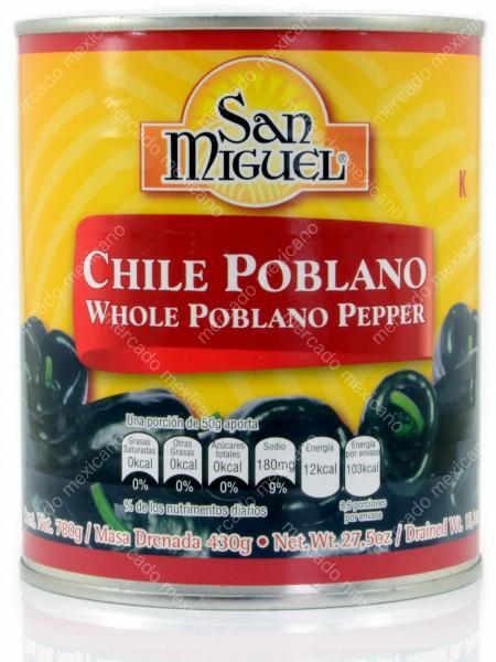 Chile Poblano Entero San Miguel 780g