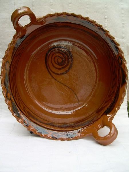 Cazuela braun lasiert mit Muster